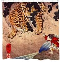 Tiger Showdown Ukiyo-e Print Shower Curtain