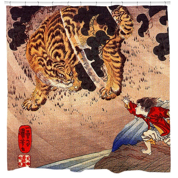 Shop Tiger Showdown Ukiyo E Print Shower Curtain