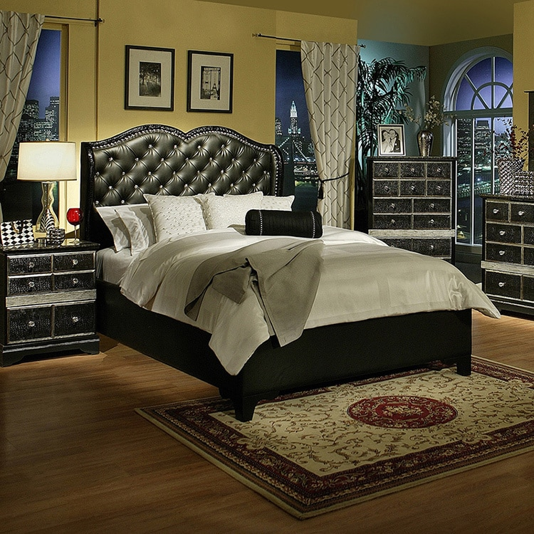 Sandberg Furniture Hollywood Glamour Black Chase Bed (King)