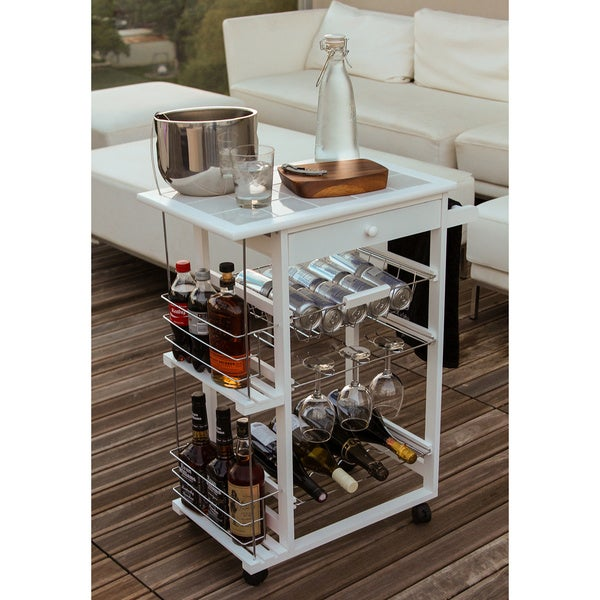 Shop Nordic Furniture Rolling Bar With Wine Racks