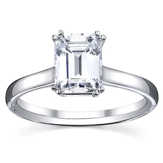 14k White Gold 1ct TDW Emerald Cut Diamond Solitaire Engagement Ring