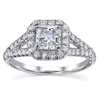 18k White Gold 1 1/4ct TDW Princess Diamond Halo Engagement Ring