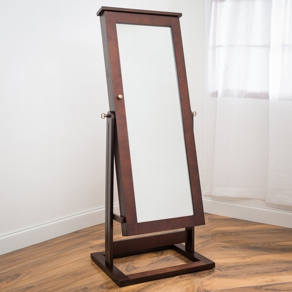 Cheval Mirror Jewelry Armoire White Wooden With Cabinet Floor Standing Iconic Home