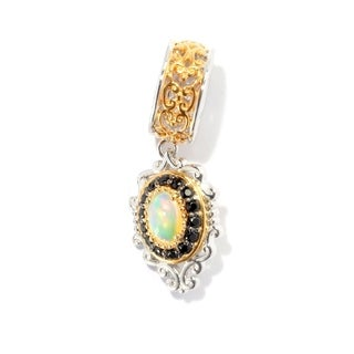 Michael Valitutti Palladium Silver Ethiopian Opal and Black Spinel Drop Charm