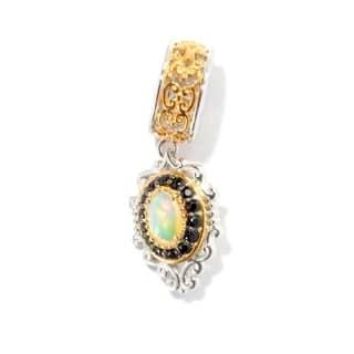 Michael Valitutti Palladium Silver Ethiopian Opal and Black Spinel Drop Charm https://ak1.ostkcdn.com/images/products/9564103/P16750239.jpg?impolicy=medium