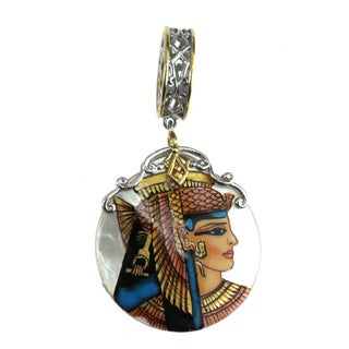 Michael Valitutti Palladium Silver Hand Painted Cleopatra Shell Charm