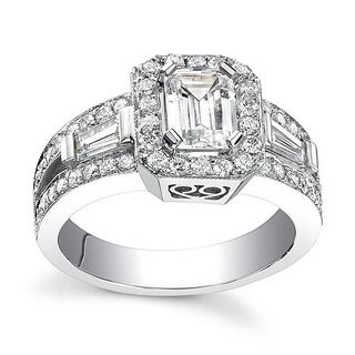 14k White Gold 1 1/10ct TDW Emerald Diamond Engagement Ring
