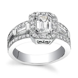14k White Gold 1 1/10ct TDW Emerald Diamond Engagement Ring (H-I, SI1-SI2)