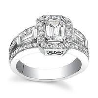 14k White Gold 1 1/10ct TDW Emerald Diamond Engagement Ring