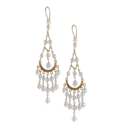 14k White Freshwater Pearl Chandelier French Hook Earrings