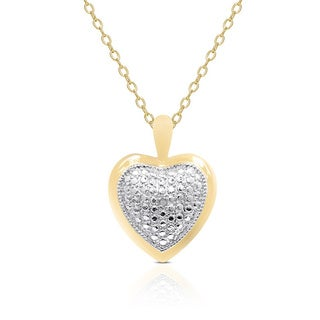 Finesque Yellow or Rose Gold Overlay Diamond Accent Heart Necklace