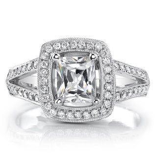 18k White Gold 1 1/2ct TDW EGL-USA Certified Princess-cut Diamond Engagement Ring
