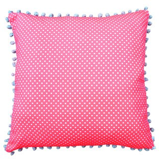 Pink Polka Dotted Decorative 20-inch Throw Pillow with Blue Pom-poms