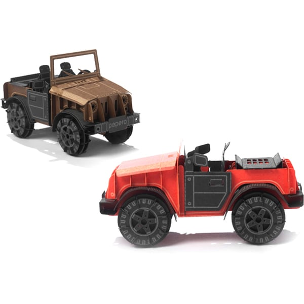 Papero Red and Brown Mini Cars Assemblage Model Kit