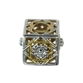 Michael Valitutti Goldplated Silver Square Filigree Charm