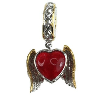 Michael Valitutti Palladium Silver Red Quartz Heart with Wings Charm