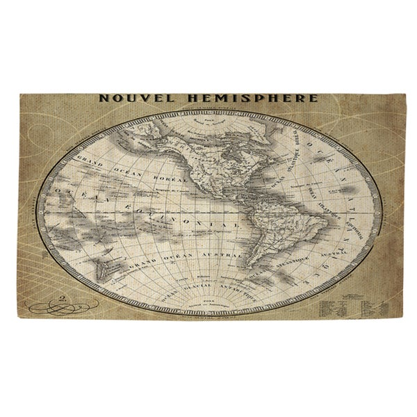 Black And White World Map Rug: Shop French World Map Iii Rug (4' X 6')