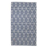 Winter Garden Baroque Navy On White Rug (4' x 6') - 4' x 6'