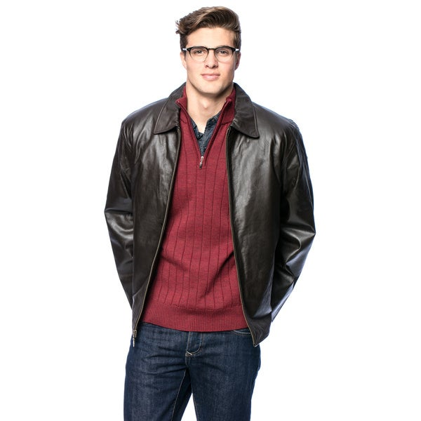 Wilda Men's Harrison Brown Leather Jacket - Free Shipping Today ...