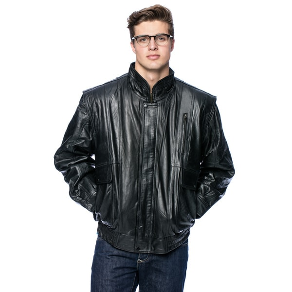 Wilda Men's Classic Leather Bomber Jacket - Free Shipping Today ...