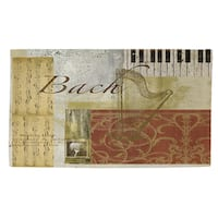 Classic Composers Bach Rug (4' x 6') - Brown/White - 4' x 6'