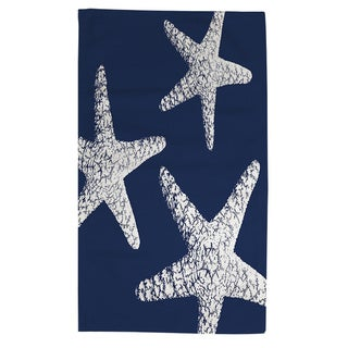 Nautical Nonsense White Blue Starfish Rug (4' x 6')