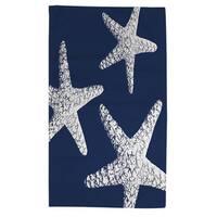 Nautical Nonsense White Blue Starfish Rug (4' x 6') - White/Blue - 4' x 6'