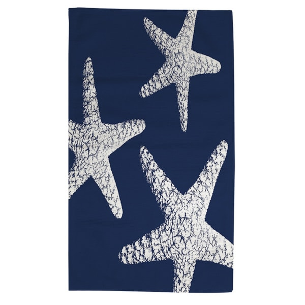 Nautical Nonsense White Blue Starfish Rug 4 X 6 Free