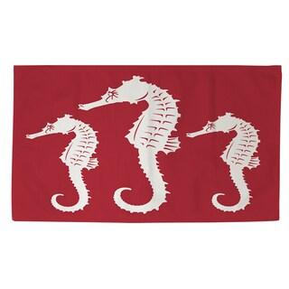 Thumbprintz Nautical Nonsense White Red Seahorses Rug (4' x 6')