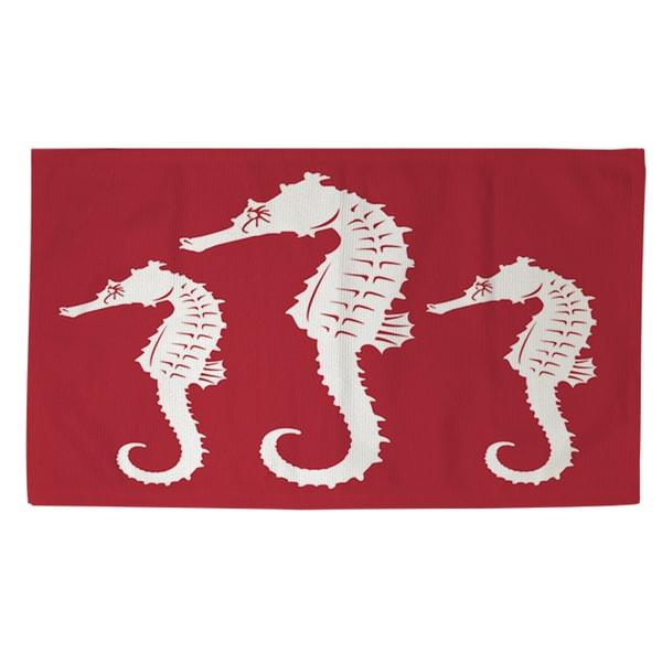 Nautical Nonsense White Red Seahorses Rug (4' x 6')