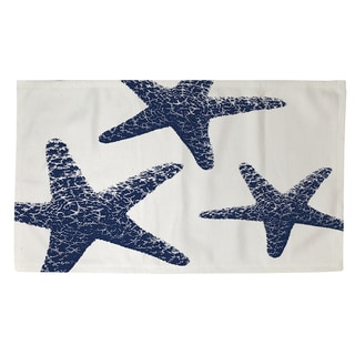 Nautical Nonsense Blue White Starfish Rug (4' x 6')