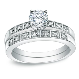 Auriya 14k Gold 5/8ct TDW Certified Round Diamond Bridal Ring Set