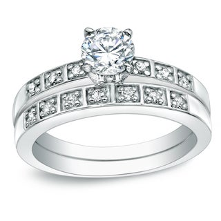 Auriya 14k Gold 5/8ct TDW Round Diamond Bridal Ring Set (H-I, SI1-SI2)