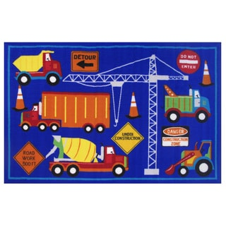 Men at Work Blue Accent Rug (3'3 x 4'8)