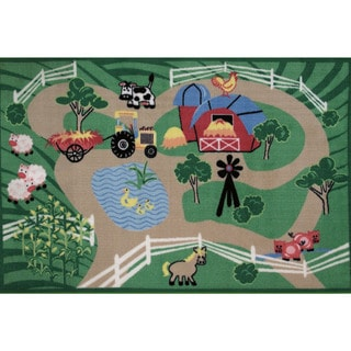 Farm Roads Green Accent Rug (3'3 x 4'8)