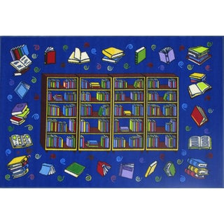 Reading Time Blue Accent Rug (4'3 x 6'5)