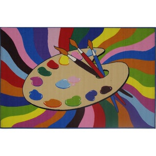"""Painting Time Multi-colored Accent Rug (4'3 x 6'5) - 4'3"""" x 6'5"""""""