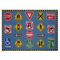 Traffic Signs Blue Nylon Accent Rug - 4'3 x 6'5