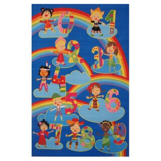 Kids and Numbers Blue Accent Rug (4'3 x 6'5)