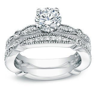 Auriya 14k White Gold 1ct TDW Certified Round Diamond Bridal Ring Set