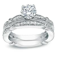 Auriya 14k White Gold 1ct TDW Vintage-Inspired Certified Round Diamond Solitaire Engagement Ring Set