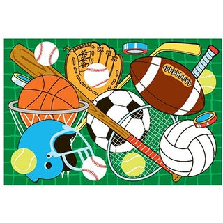 Let's Play Sports Green Accent Rug (4'3 x 6'5)