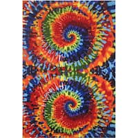 Tie-Dye Multi-colored Accent Rug (4'3 x 6'5)