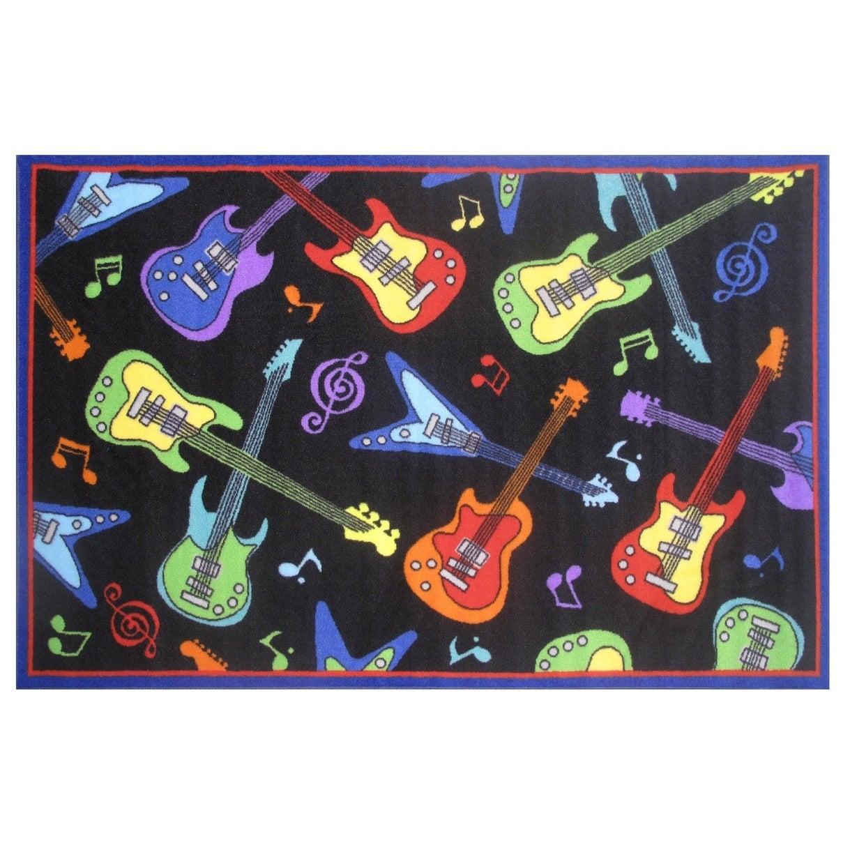 LA RUG Rock Star - Guitar Accent Rug (4'3 x 6'5) (51 inch...