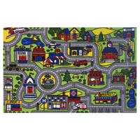 Driving Time Green Area Rug (6'8 x 10')