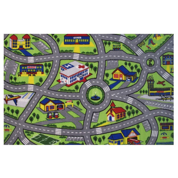 Driving Fun Green Accent Rug - 6'8 x 10'