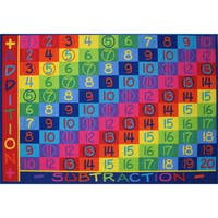 Addition and Subtraction Multi-colored Area Rug (8' x 11') - Multi - 8' x 11'