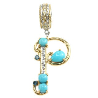 Michael Valitutti Two-tone Sleeping Beauty Turquoise and London Blue Topaz 'P' Charm