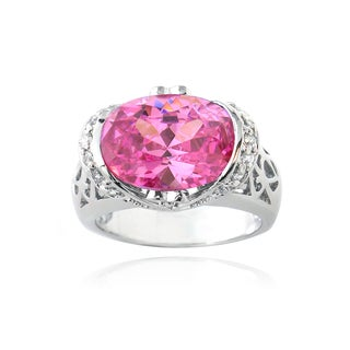 Icz Stonez Sterling Silver 6ct TGW Pink Cubic Zirconia Ring