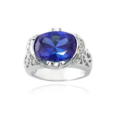 Icz Stonez Sterling Silver 6ct TGW Blue Cubic Zirconia Ring